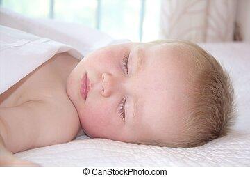 stående, söt, litet, sova, pojke