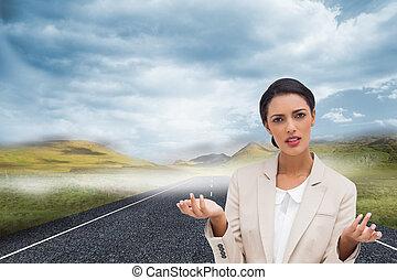 stående, sammansatt avbild, förvirrat, affärskvinna