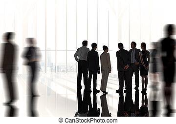stående, sammansatt, kolleger, avbild, affär