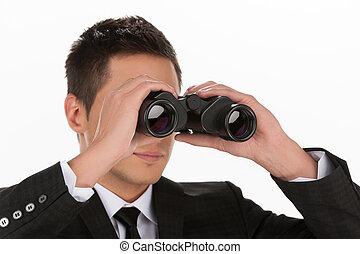 stående, se, opportunities., män, ung, formalwear, isolerat, kikare, medan, genom, färsk, vit