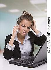 stående, sekreterare, arbeta ämbete, trött