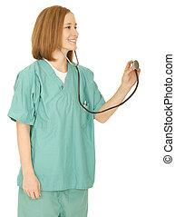 stående, sköta, stetoskop, holdingen