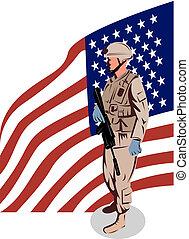stående, soldat, amerikan, långsides, flagga