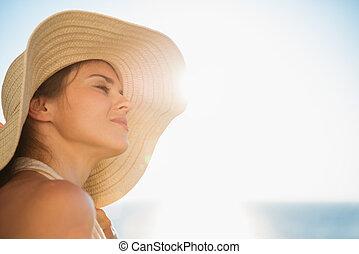 stående, solsken, kvinna, lycklig, avnjut