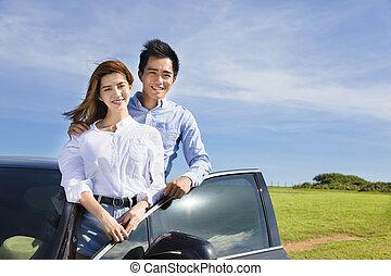 stående, sommar, bil, par, tycka om, ung, semester