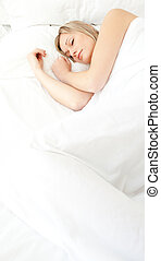 stående, strålande, kvinna, sova
