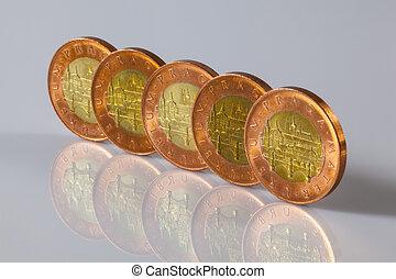 stående, tjeck, mynter, bord, glas