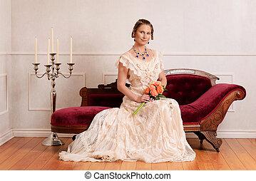 stående, viktoriansk kvinna, couch