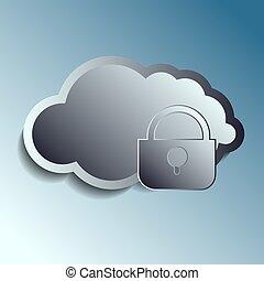 stål, 3, vektor, clouds., securety.