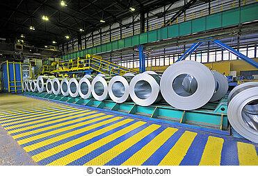 stål, ark, rolls, packat