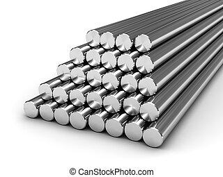 stål, bommar för, runda