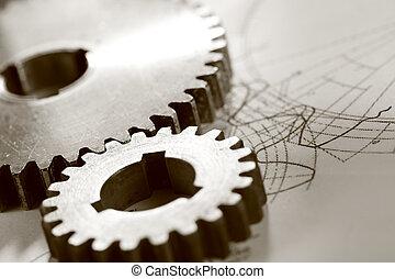 stål, cogwheels, ind, sammenhænge, på, affattelseen