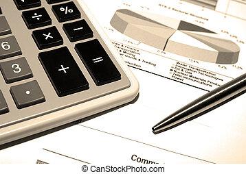 stål, data., finansiell, räknemaskin, penna, tryck
