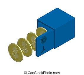 stål, dollar, pengeskab, isoleret, åbn, os, mønter., isometric, vektor, tegn.