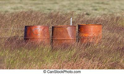 stål, fält, gammal, trumman