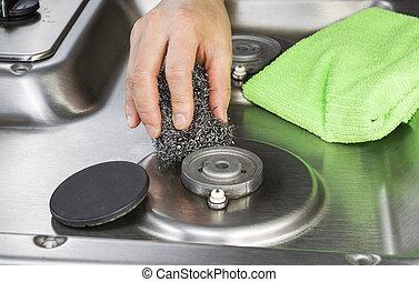 stål, gas kamin, brännare, vaddera, rensning