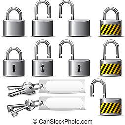 stål, hänglås, nyckel
