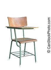 stål, klippning, concept., säte, singel, ved, squab, föreläsning, bord, stol, utbildning, path.
