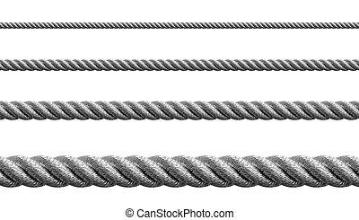 stål, metal, sæt, hawser, isoleret