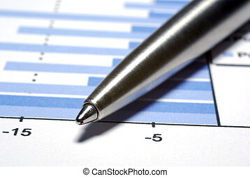 stål, penna, macro., finansiell, concept.