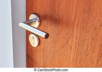 stål, rostfri, dörr hantera