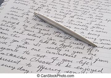 stål, rostfri, lagd, penna, skriftligt, sida