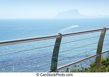 stål, rostfri, medelhavet, moraira, hav, balkong