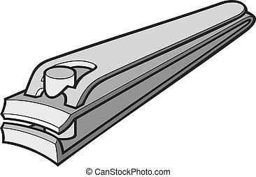 stål, rostfri, spika, vektor, klippare