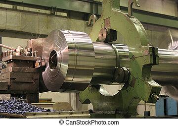 stål, rustfrie, drejebænk, afbøjning
