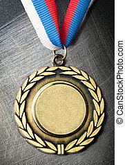 stål, scratchy, medalj, bakgrund, tom