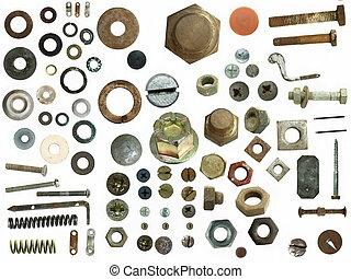 stål, skrue, gamle, hoveder, bolts, tossede