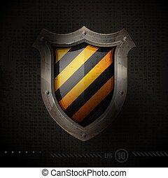 stål, skyddande, skydda, gul, sjabbig, bakgrund., vakt, vektor, svart, galon, illustration.