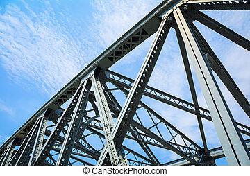 stål, struktur, bro, closeup
