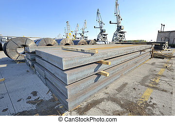 stål, tallrik, ark, rolls, packat