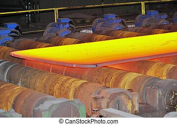 stål, varm, transportband
