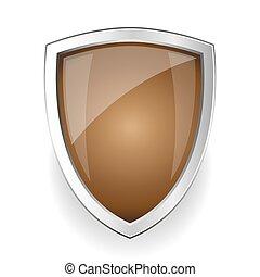 stål, vektor, skydda, tom