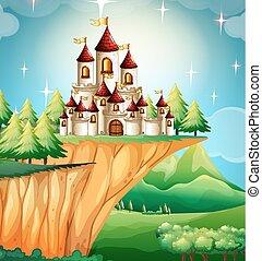 står hög, slott, klippa