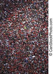 ståta, folkmassa