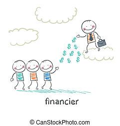 stænder, folk, penge, finansmand, kast, sky
