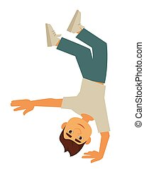 stænder, unge, æn, derned, breakdancer, hånd, up-side