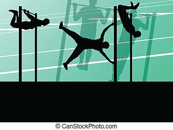 stærke, gymnastiksal, illustration, aktiv, silhuetter, vektor, baggrund, duelighed, gåpåmodet, sport, ups, mand