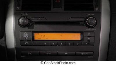 stéréo, voiture, musique, tourner, volume, haut