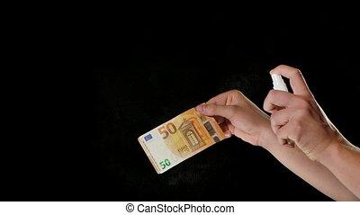 stérilisation, motion., diffusion, papier, euro, coronavirus, epidemic., lent, sale, désinfection, alcool, haut., empêcher, argent, fin, germes, virus, antiseptic., covid-19