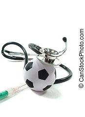 stéthoscope, à, football, et, seringue