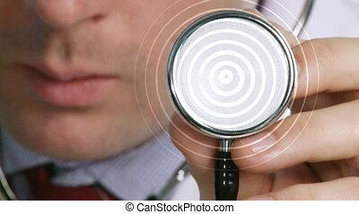 stéthoscope, écoute, docteur