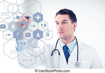 stéthoscope, écran, docteur, virtuel