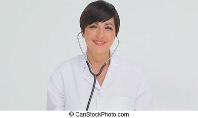 stéthoscope, chestpiece, tenue, docteur