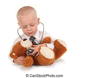 stéthoscope, docteur, patient, ours, teddy