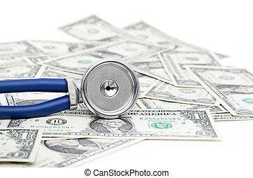 stéthoscope, dollars, illustrer, coûteux, healthcare