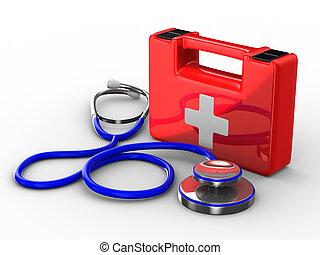 stéthoscope, et, premiers secours, blanc, arrière-plan., isolé, 3d, image